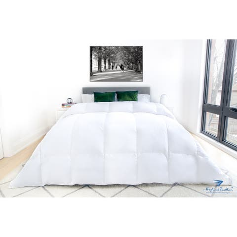 Highland Feather 725 Loft Hutterite White Goose Down Iceland Duvet/Comforter 500TC Casing with Corner Ties