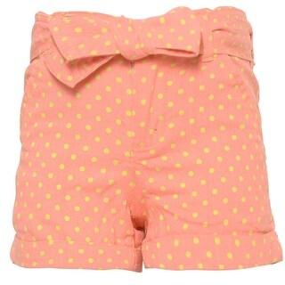 Ko Ko Ailis Little Girls Coral Yellow Polka Dotted Tie Bow Waist Shorts 4 (Option: 6)
