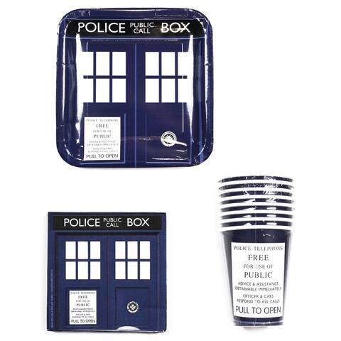 "Doctor Who TARDIS Party Set: 9"" Plates (x8), 9oz Cups (x8), 6.5"" Napkins (x20) - Multi"