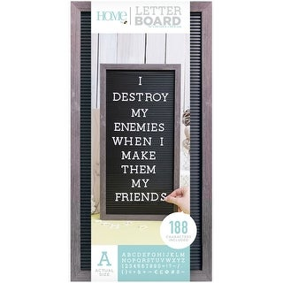 """Dcwv Framed Letterboard 10""""X20""""-Gray Stained W/Black Insert"""