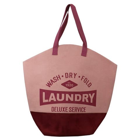 Deluxe Service Wash Dry Fold Canvas Laundry Tote, Pink