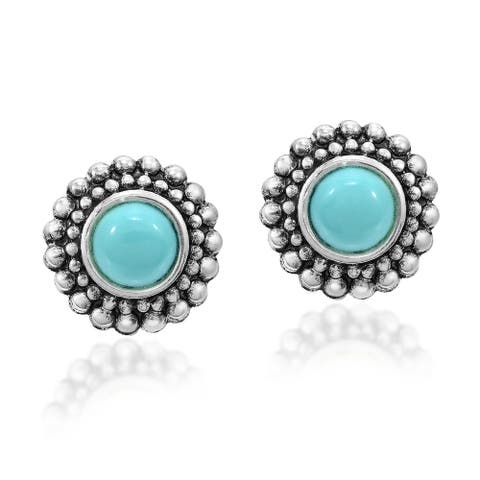 Handmade Cute Chrysanthemum Stone Sterling Silver Floral Inspired Stud Earrings (Thailand)