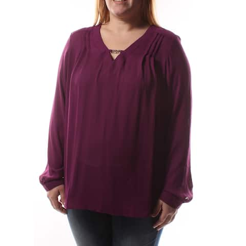NY COLLECTION Womens Purple Cuffed Keyhole Top Size: XS