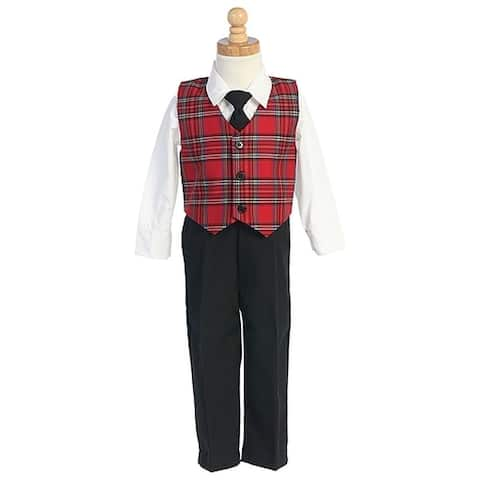 Little Boys Red Plaid Christmas Special Occasion 3pc Suit Tie Set 6M-7