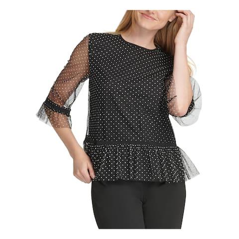 DKNY Womens Black Polka Dot 3/4 Sleeve Jewel Neck Top Size L