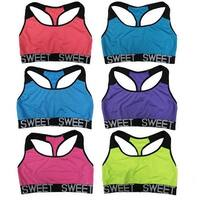 "Women 6 Pack Neon Color ""Sweet"" Band Matching Non-Padded Yoga Sports Bras"