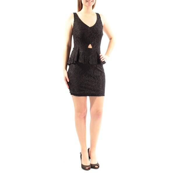 Womens Black Sleeveless Above The Knee Peplum Cocktail Dress Size: M