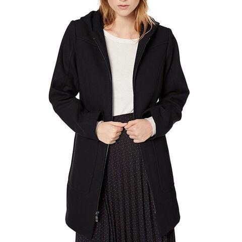 London Fog Womens Coat Zip Front Hooded Two Pocket Wool