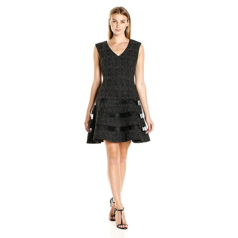 Aidan by Aidan Mattox Stretch Knit Fit & Flare V-Neck Cocktail Dress Black/Silver