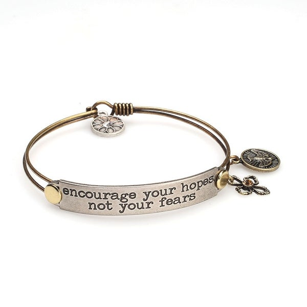 Women's Inspirational Message Brass Bracelet with Charms - Encourage Your Hopes