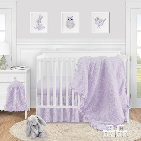 Purple Floral Rose Girl 4pc Nursery Crib Bedding Set - Solid Lavender Flower Luxurious Elegant Princess Vintage Boho Shabby Chic