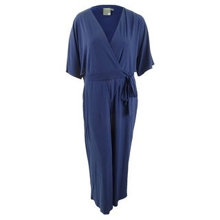 Link to Taylor Women's Plus Size Wide-Leg Surplice Jumpsuit (16W, Navy) - Navy Similar Items in Outfits