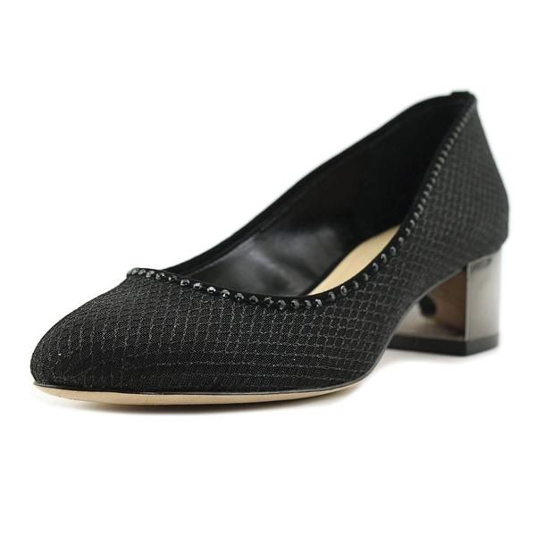 Imagine Vince Camuto Hetty Women Round Toe Canvas Black Heels