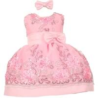 Baby Girls Pink Sequin Floral Embroidery Flower Girl Christmas Dress 3-24M
