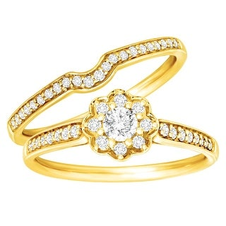 1/2 ct Diamond Floral Bridal Set in 14K Gold