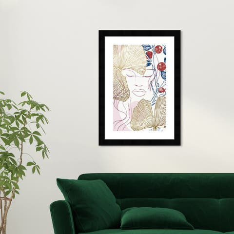 Wynwood Studio 'Clementines and Gingkos' People and Portraits Wall Art Framed Print Portraits - Gold, Pink
