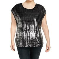 Calvin Klein Black Women's Size 3X Plus Sequined Pullover Blouse