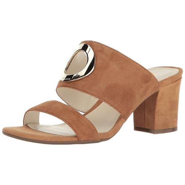 Anne Klein Womens Naomi Suede Almond Toe Casual Mule Sandals