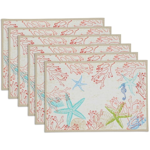 "DII Lagoon Placemat Set, 13x19"", 6 Piece"