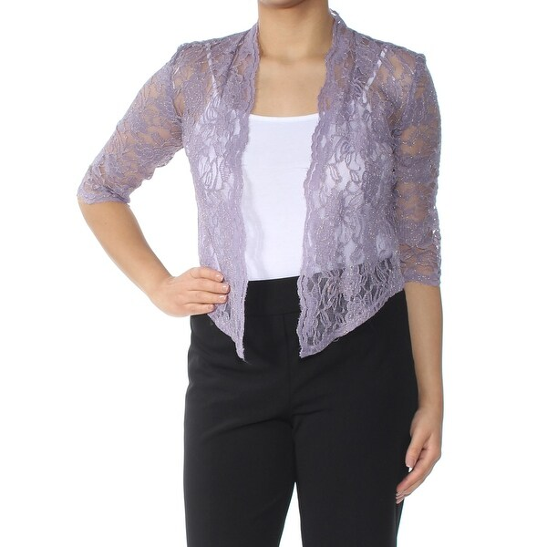 R&M RICHARDS Womens Purple Sheer Open Floral Long Sleeve Top Petites Size: 4