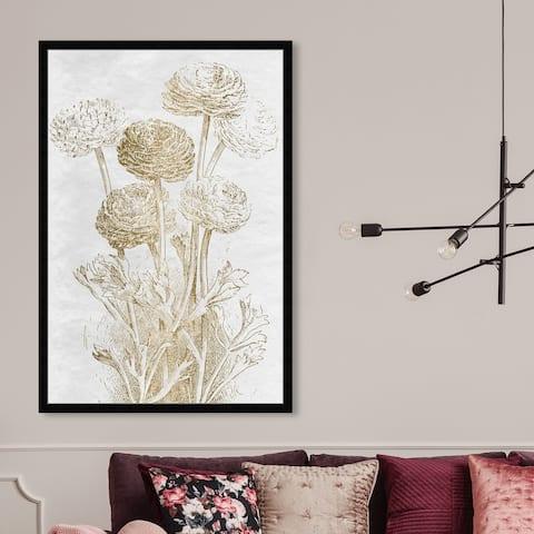 Oliver Gal 'Dahlia Sketch gold' Floral and Botanical Wall Art Framed Print Florals - Gold, White