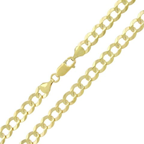 14K Yellow Gold 7MM Solid Cuban Curb Link Necklace Chains, Gold Chain for Men & Women, 100% Real 14K Gold, Capital Jewelry