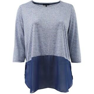 Women - Plus Size 3/4 Sleeve Striped Chiffon Bottom Top Blouse Knit Shirt Blue White