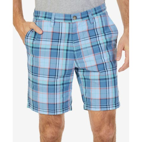 Nautica Blue Mens 38 Flat Front Chinos Classic Fit Plaid Shorts