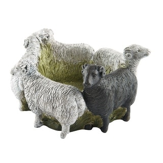 Art & Artifact Ring of Sheep Planter - 4 White, 1 Black Sheep Cast Resin - 11 in. x 6 in.