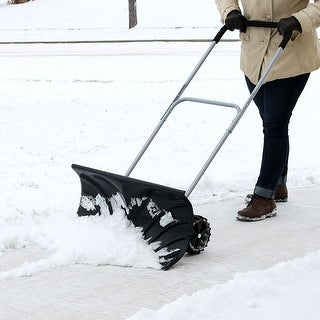 CASL Brands Adjustable Rolling 26-Inch Winter Snow Pusher with 6-Inch Wheels