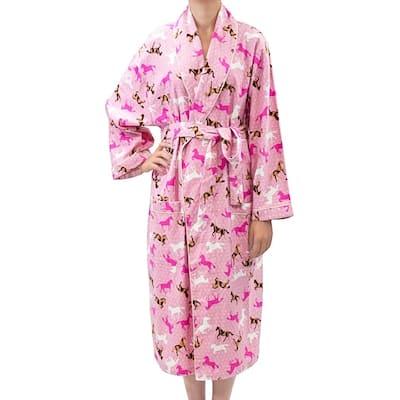 Leisureland Women' Flannel Horse Print Robe