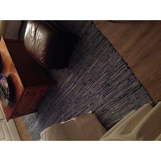 Hand-woven Matador Blue Denim/ Leather Rug (8' x 10') - 8' x 10'