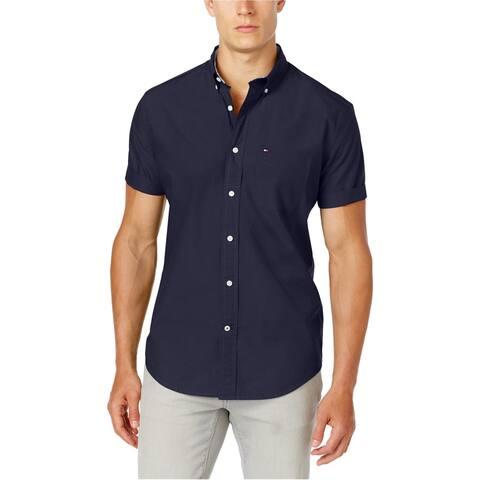 Tommy Hilfiger Mens Maxwell SS Button Up Shirt, Blue, XX-Large