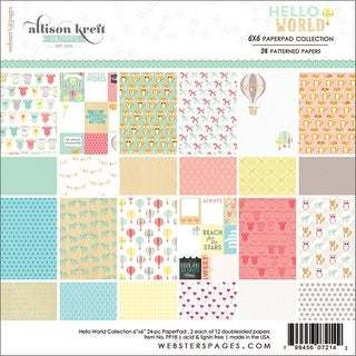 "Webster's Pages Double-Sided Paper Pad 6""X6"" 24/Pkg-Hello World, 12 Designs/2 Each"