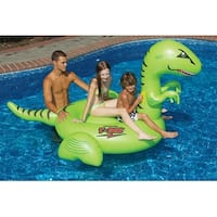 """78"""" Water Sports Inflatable Swimming Pool Giant T-Rex Ride-On Raft Toy - Green"""