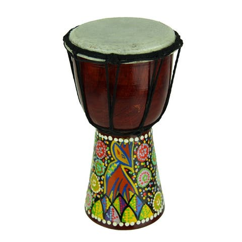 Aboriginal Dot Painted Giraffe Djembe Drum 8 Inches Tall 4.5 Inch Diameter - 7.75 X 4.25 X 4.25 inches