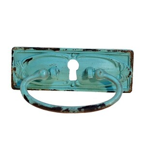 Antique Look Blue Keyhole Drawer Pull Handle Pewter Distressed Finish