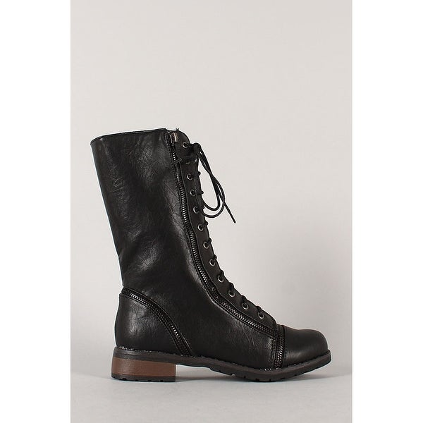 Bamboo Women's Battle-14 Combat Boots Military Style