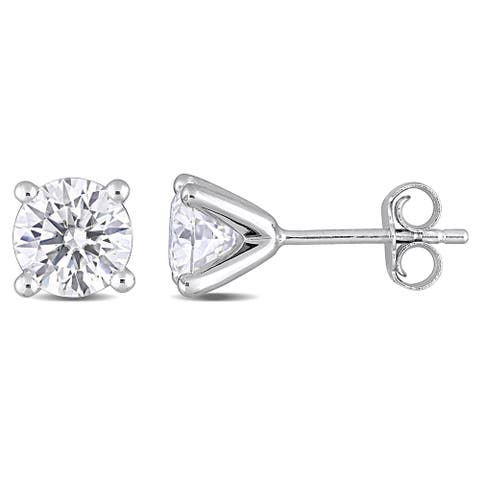 Miadora 2ct DEW Moissanite Solitaire Stud Earrings in Sterling Silver - 6.6 mm x 6.6 mm x 6 mm