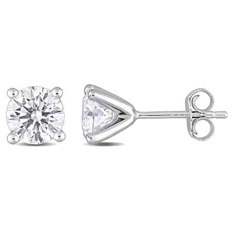 Miadora Sterling Silver 2ct TGW Created Moissanite Solitaire Stud Earrings