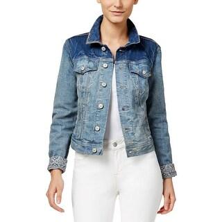 Vintage America Womens Carlie Denim Jacket Distressed Long Sleeves