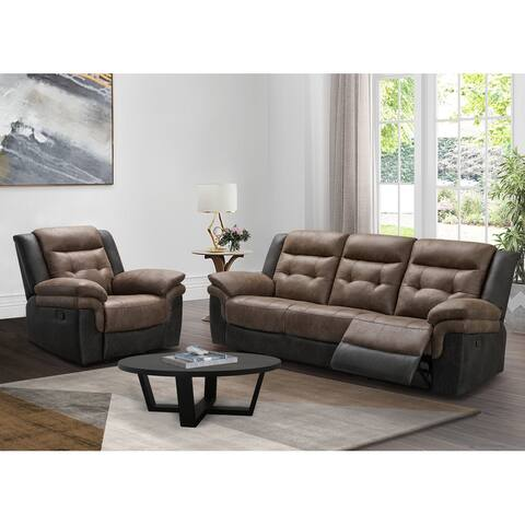 Abbyson Tacoma Two-tone Fabric Reclining Sofa and Recliner Set