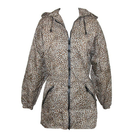 ShedRain Women's Packable Fashion Leopard Print Anorak Rain Jacket