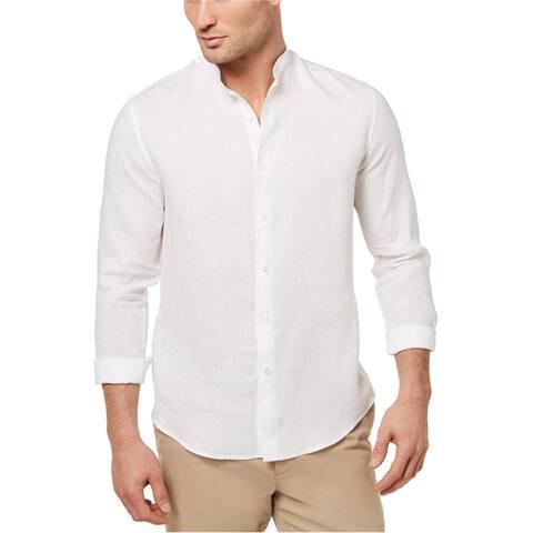 Tasso Elba Mens LS Button Up Shirt, White, Medium