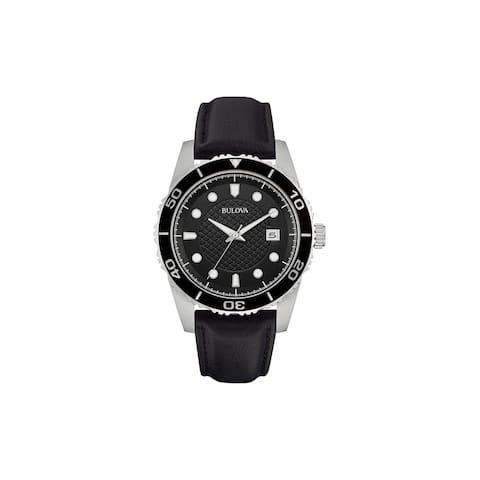 Bulova Mens 98B275 Stainless Black Dial Black Leather Strap Watch - Silver-Tone