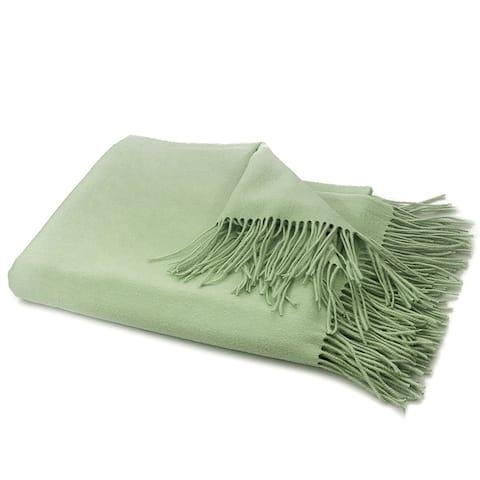 STP-Goods Green Tea Cashmere & Wool Throw Blanket