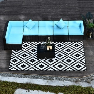 Outsunny 7-piece Outdoor Patio Rattan Wicker Furniture Set