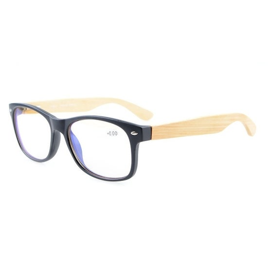 Eyekepper Readers Classic 80's Spring Hinges Bamboo Wood Temples Computer Reading Glasses Black +0.0