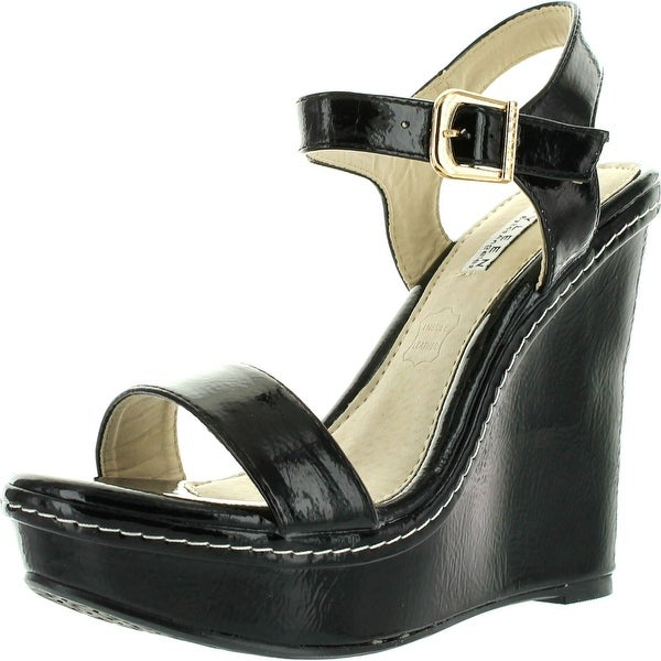 Kayleen Cheri-1 Womens Patent Strappy High Heel Platform Wedge Sandals