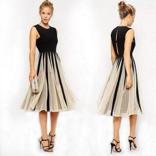 Link to Women Sexy Lace Pleated Mini Dress Sleeveless Big Swing Patchwork Chiffon Dress Similar Items in Dresses